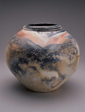 pit fired celebration urn StarryNight